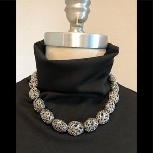 Silver Plated Antique Bead Necklace